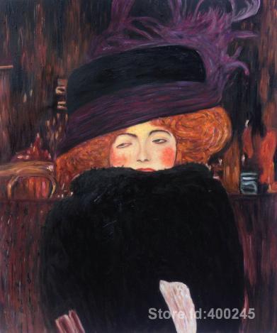 Pinturas-retrato-by-gustav-klimt-senhora-com-chap&eacute